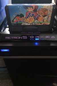 The RetroN 5 played nearly every cart tested, including this Japanese import baseball game.